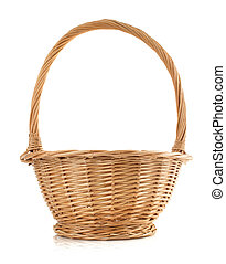 cesta, vime, fundo branco