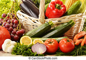 cesta, vime, legumes, frutas