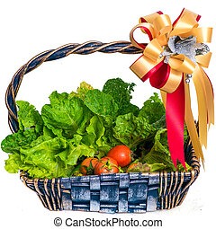 cesta, vime, legumes, orgânica
