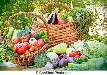 cesta, vime, legumes, orgânica, fresco