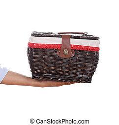 cesta, vime, tecer, saco, mão