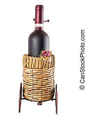 cesta, vinho, tem rodas, garrafa, vermelho