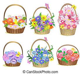 cestas, de, flores