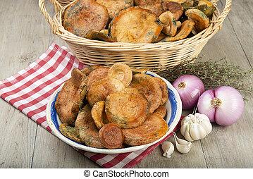 cestas, tazones, leche, azafrán, cocina, tapas, tabla