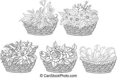 cesti, con, fiori, set, contorno