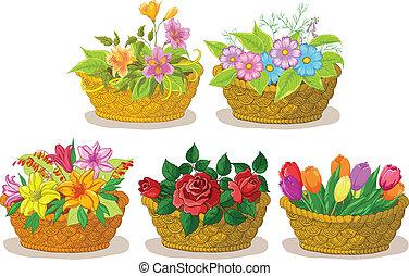 cesti, con, fiori, set