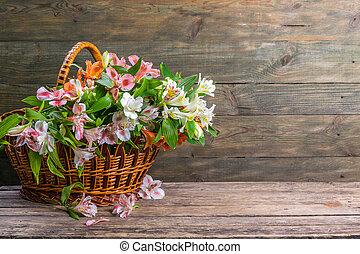 cesto, alstroemeria, fiori