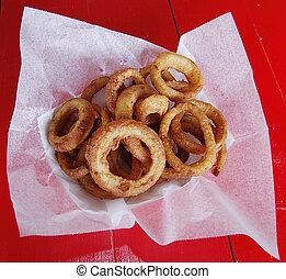 cesto, anelli, cipolla