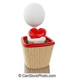 cesto, bianco, 3d, heart., persone