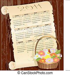 cesto, calendario, fiori, grunge