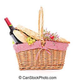 cesto, cibo, picnic