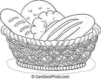 cesto, con, bread, contorno