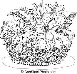 cesto, con, fiori, contorni