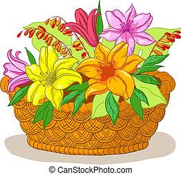 cesto, con, fiori, giglio