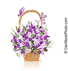 cesto, con, fiori, per, tuo, disegno