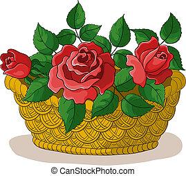cesto, con, fiori, rose