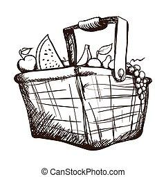 cesto, con, frutta verdure, icona, immagine