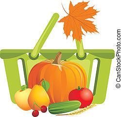 cesto, con, frutta verdure