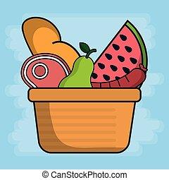 cesto, con, frutte, e, cibo, icona