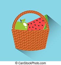 cesto, con, frutte, icona