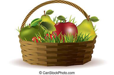 cesto, con, frutte, isolato, bianco