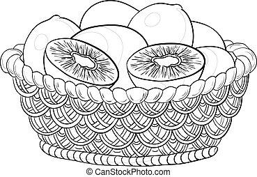 cesto, con, frutte kiwi, contorni