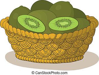 cesto, con, frutte kiwi