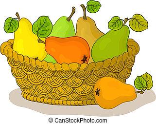 cesto, con, frutte, pere