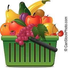 cesto, con, frutte