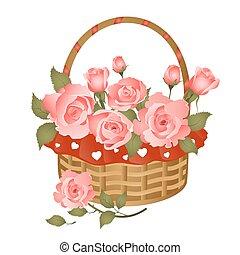 cesto, con, mazzo rose