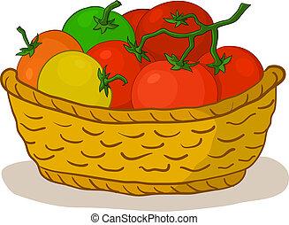 cesto, con, pomodori