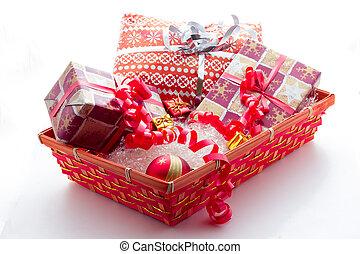 cesto, con, regali natale