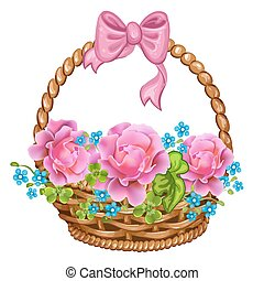 cesto, con, rosa, roses.