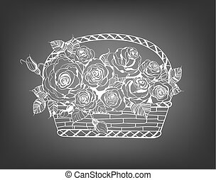cesto, con, rose
