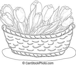 cesto, con, tulips, contorno