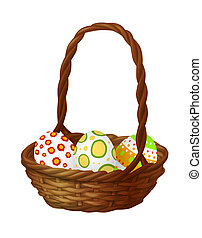 cesto, con, uova pasqua