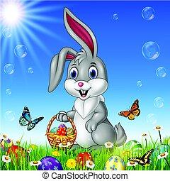 cesto, coniglio pasqua, presa a terra, cartone animato