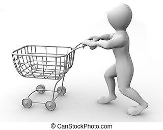 cesto, consumatore, uomo