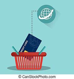 cesto, credito, shopping, scheda
