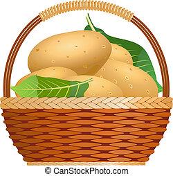 cesto, crudo, patate