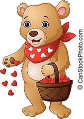 cesto, cuore, cartone animato, orso, rosso