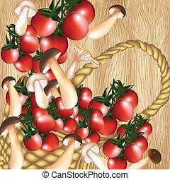cesto, di, pomodoro ciliegia, e, mushroo
