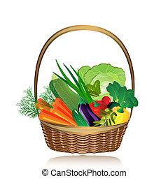 cesto, di, verdura