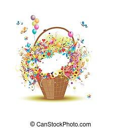cesto, fiori, disegno, tuo