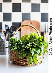 cesto, fresco, verdura