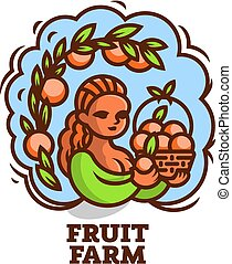 cesto, fruit., ragazza, contadino