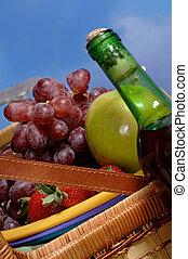 cesto, frutta, picnic