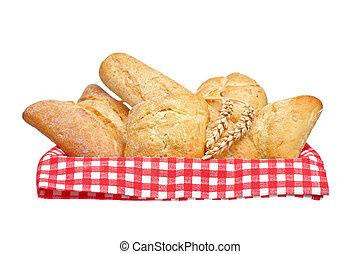 cesto, panini dolci, pane crostoso