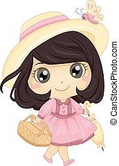cesto, picnic, ragazza, ombrello, capretto
