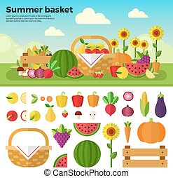 cesto, pieno, di, frutta verdure